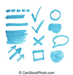 Vector set of transparent highlighter marks, blue color isolated on white
