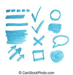 Vector set of transparent highlighter marks, blue color...