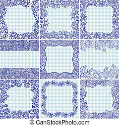 Set of vector floral frames - Set of vector floral...