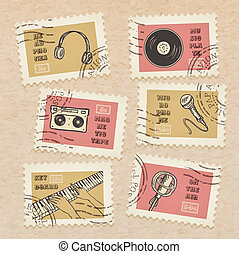 Vector postage stamps collection, retro music equipment theme, canceled - decorative set for scrapbooking on realistic cardboard background