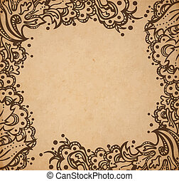 Vintage old paper texture background with floral ornamental...