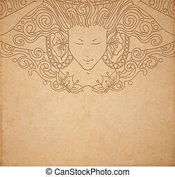 Vintage old paper texture with vector detailed art-nouveau decorative engraved angel woman, hand drawn ornament