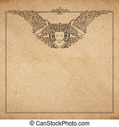 Vintage old paper texture with vector detailed art-nouveau...