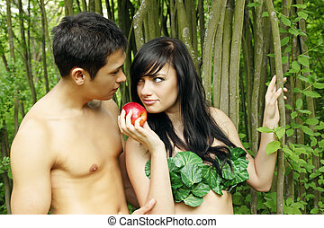Eve and Adam - Biblical scene, Eve offers Adam the apple