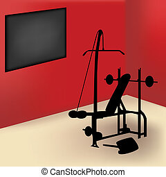 Gym Room - Gym equipment in red room with board for announce