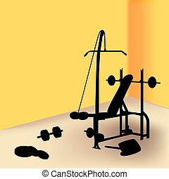 Gym equipment in yellow room