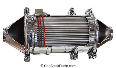 Cross section of a catalytic converter and particle filter...