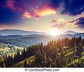 magical mountain landscape - Fantastic sunny hills under...