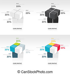 swivel cube infographic template set