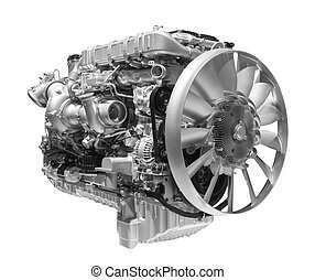 Modern heavy duty truck diesel engine isolated on white background