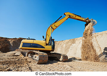 excavator loader at earthmoving works - excavator machine at...