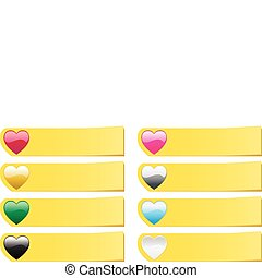 Set of 8  colored hearts post stickers notes