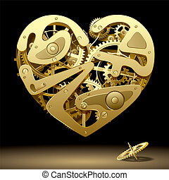 Clockwork Heart - Isolated raster version of vector image of...