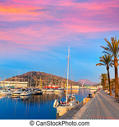 Cartagena Murcia port marina sunrise in Spain - Cartagena...