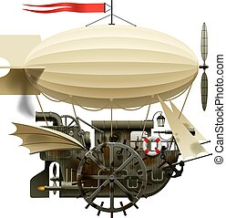 Flying Ship - Vector isolated image of the complex fantastic...