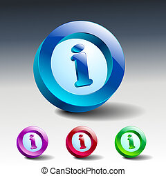 Info icon glossy blue button symbol