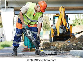 construcción, trabajador, perforator