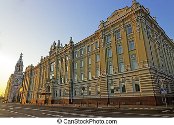 Headquarters of Rosneft major russian oil company at sunrise