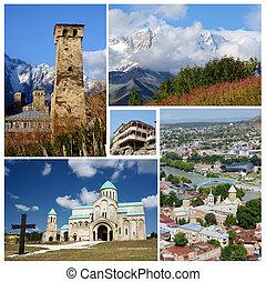 Collage of popular Georgia touristic landmarks, unesco heritage