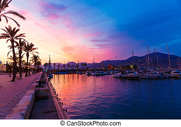 Cartagena Murcia port marina sunset in spain - Cartagena...