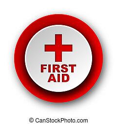 primeiro, ajuda, vermelho, modernos, teia, ícone,...