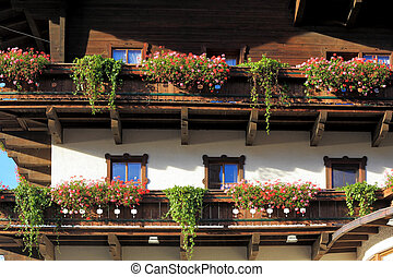 Guest house in Austria. Front of the house is traditionally...