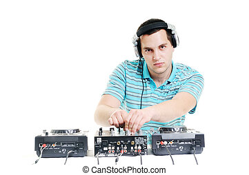 dj party - young dj man with headphones and compact disc dj...