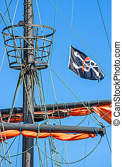Pirate flag on a historic ship