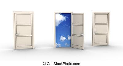 Opened door leads to the sky