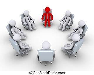Boss and businessmen sitting in a circle