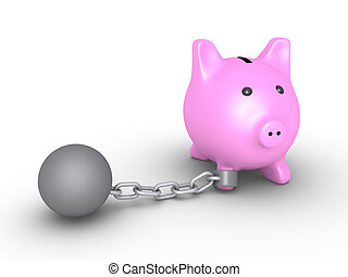 Money are bound from moving - 3d pig money box is detained...