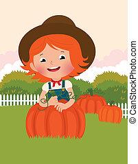 Little farmer of pumpkins - Little girl farmer on his garden...