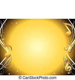 Golden Music notes background - Golden background with music...