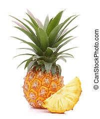 Pineapple tropical fruit or ananas isolated on white...