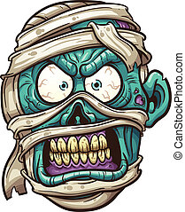 Mummy face - Angry mummy face. Vector clip art illustration...