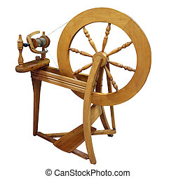 Antique Spinning Wheel isolated with clipping path