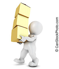 3D Morph Man Carrying Boxes - 3D Render of Morph Man...