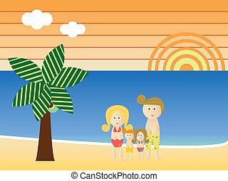 Retro Beach Family Vacation - Retro Beach Sunset Landscape...