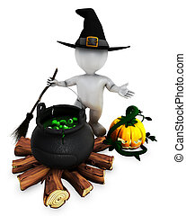 3D Morph Man Witch with cauldron - 3D Render of Morph Man...
