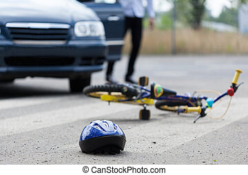 Accident on pedestrian crossing - Horizontal view of...