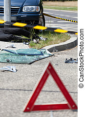 Warning triangle after car accident - View of warning...