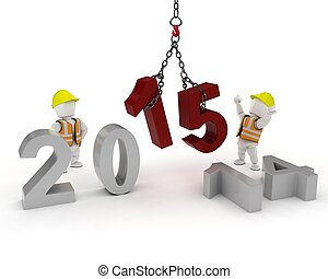 man bringing in the new year - 3D render of a man with...