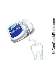 41Dentalfroce - Dental floss is hank lay seem teeth shape on...