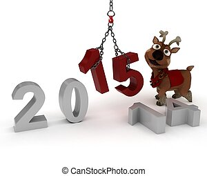 Reindeer Bringing in the New Year - 3D Render of Reindeer...