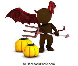 3D Morph Man Daemon with pumpkins - 3D Render of Morph Man...