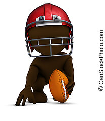 Morph Man playing american football - 3D Render of Morph Man...