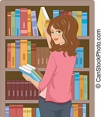 Book Girl - Illustration Featuring a Girl in a Library...