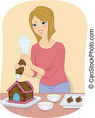 Christmas Food Decoration - Illustration Featuring a Girl...