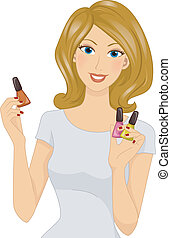 Nail Polish - Illustration Featuring a Girl Holding...