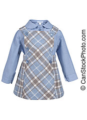Children's set of clothes from a shirt and a skirt isolated...